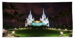 San Diego Temple Hand Towel by Eddie Yerkish
