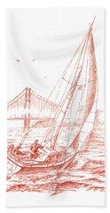 San Francisco Bay Sailing To Golden Gate Bridge Hand Towel