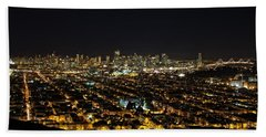 San Francisco Skyline Hand Towel by Dave Files