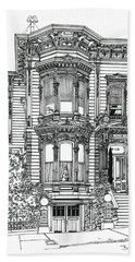 Hand Towel featuring the drawing San Francisco Victorian   by Ira Shander