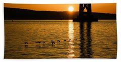 Bath Towel featuring the photograph San Francisco Bay Bridge Sunrise by Georgia Mizuleva