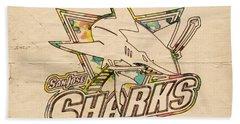 San Jose Sharks Vintage Poster Hand Towel