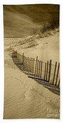 Sand Dunes And Fence Bath Towel