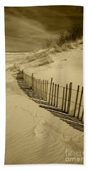 Sand Dunes And Fence Bath Towel