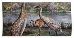 Sandhill Cranes On Alert Hand Towel by Roxanne Tobaison