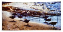 Hand Towel featuring the photograph Sandpiper Brigade by Janine Riley