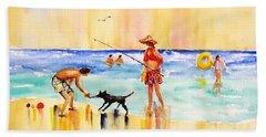 Sandy Dog At The Beach Bath Towel by Carlin Blahnik
