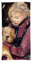 Hand Towel featuring the painting Sandy Grace And Me by Molly Poole