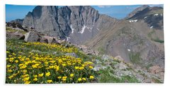 Sangre De Cristos Crestone Peak And Wildflowers Hand Towel