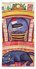 Santa Arriving Down The Chimney Hand Towel