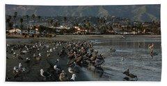 Bath Towel featuring the photograph Santa Barbara Beach Crowd  by Georgia Mizuleva
