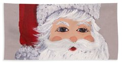 Hand Towel featuring the painting Santa by Barbara McDevitt