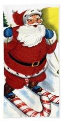 Santa Clause Skiing Hand Towel