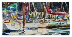 Bath Towel featuring the painting Santa Cruz Dock by Xueling Zou