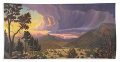 Bath Towel featuring the painting Santa Fe Baldy by Art James West