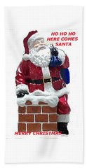 Hand Towel featuring the photograph Santa Greeting Card by Jay Milo