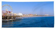 Santa Monica Pier With Ferris Wheel Hand Towel
