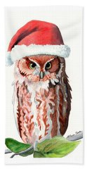 Hand Towel featuring the painting Santa Owl by LeAnne Sowa