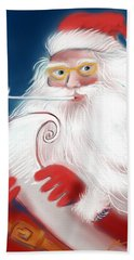 Hand Towel featuring the painting Santa's List by Jean Pacheco Ravinski