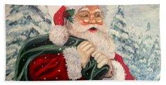 Santa's On His Way Hand Towel by Julie Brugh Riffey
