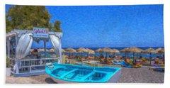 Santorini Beach Boat Grk4151 Bath Towel