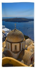 Santorini Caldera With Church And Thira Village Bath Towel