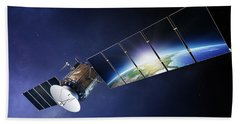 Satellite Communications With Earth Hand Towel