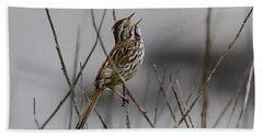 Hand Towel featuring the photograph Savannah Sparrow by Marty Saccone