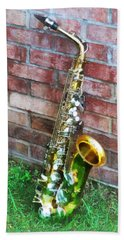 Saxophone Against Brick Bath Towel
