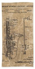 Saxophone Patent Design Illustration Hand Towel by Dan Sproul