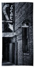 Scat Lounge In Cool Black And White Bath Towel by Joan Carroll