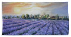 Hand Towel featuring the painting Scented Field by Vesna Martinjak