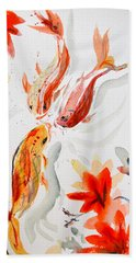 Bath Towel featuring the painting School by Beverley Harper Tinsley