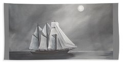 Hand Towel featuring the painting Schooner Moon by Virginia Coyle