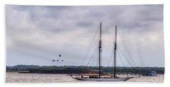 Schooner Sailing Past Fort Sumter Hand Towel