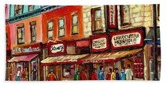 Schwartz The Musical Painting By Carole Spandau Montreal Streetscene Artist Hand Towel