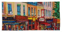 Schwartzs Deli And Warshaw Fruit Store Montreal Landmarks On St Lawrence Street  Hand Towel