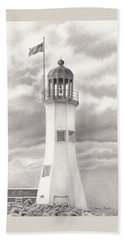 Bath Towel featuring the drawing Scituate Light by Donna Basile