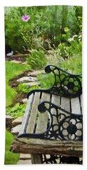 Scroll Bench Garden Scene Digital Artwork Bath Towel by Sandra Foster