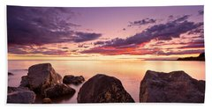 Sea At Sunset The Sky Is In Beautiful Dramatic Color Hand Towel