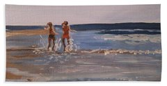 Sea Splashing On The Beach Hand Towel