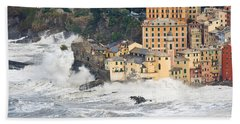 Hand Towel featuring the photograph Sea Storm In Camogli - Italy by Antonio Scarpi