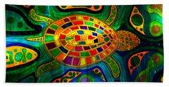 Sea Turtle - Abstract Ocean - Native Art Bath Towel
