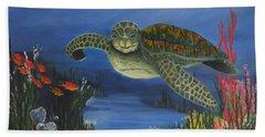 Sea Turtle In Paradise Hand Towel
