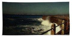 Sea Wall At Night Hand Towel
