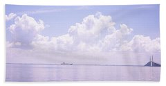 Sea With A Container Ship Hand Towel