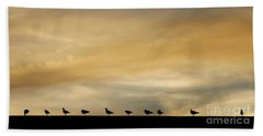 Bath Towel featuring the photograph Seagull Lineup by Kristen Fox