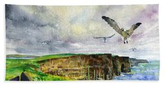 Seagulls At The Cliffs Of Moher Hand Towel