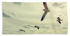 Seagulls In Flight Bath Towel