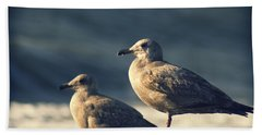 Seagulls On A Beach Hand Towel